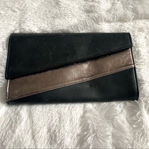 Black and Silver Clutch with removable strap